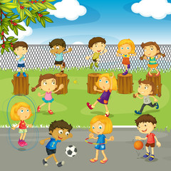 Many kids playing in the park