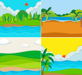 Four scenes of beach and river