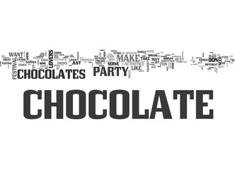 A CHOCOLATE LOVERS PARTY TEXT WORD CLOUD CONCEPT