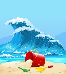 Scene with big wave and beach