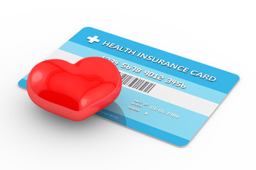 3d render of health insurance card with heart