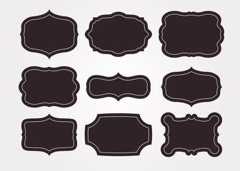 Vintage black frame empty set. Retro premium quality labels set and antique frames design elements. Vector illustration