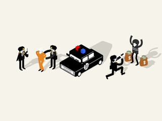 illustration isometric vector of police officer characters collection, police officer design concept