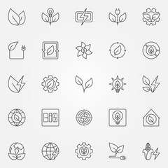 Bioenergy icons set