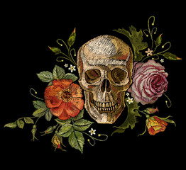 Embroidery skull and roses. Dia de muertos, day of the dead art. Gothic romanntic embroidery human skulls red roses and pink peonies, clothes template and t-shirt design vector