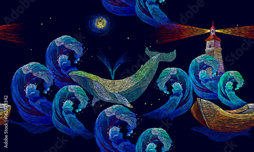 embroidery whales lighthouse sea wave and boat seamless pattern