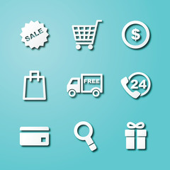 shopping paper art icons