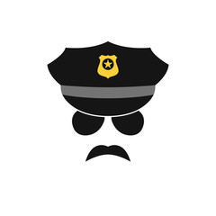 Policeman avatar. Police officer icon. Vector illustration.