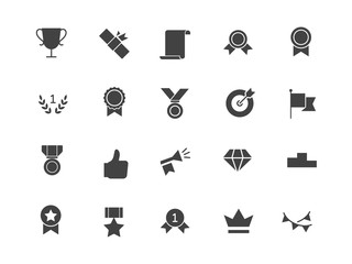 Awards silhouettes icons set