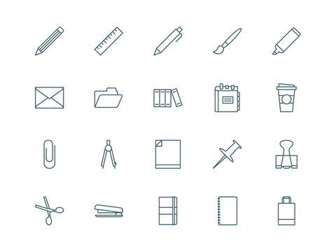 Stationary and office set of vector icons