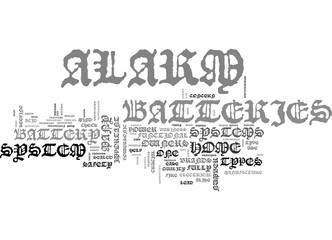 ALARM BATTERIES FOR HOME SAFETY TEXT WORD CLOUD CONCEPT