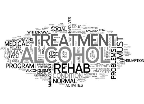 ALCOHOL REHAB TEXT WORD CLOUD CONCEPT