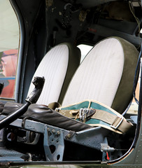 Seats in a cockpit of a helicopter