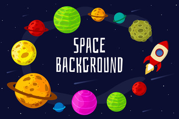 Space landscape with planet and rocket. Space for your text. Vector illustration. Flat design.