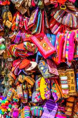 Colourful goods for sale in souvenir shop, Peru