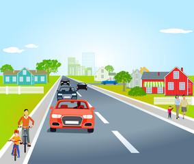 Landstraße in einer Ortschaft, Illustration