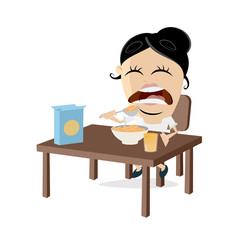 woman eating corn flakes clipart