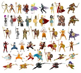 fighters, knight, warriors, wizards, samurai, martial artists and powerful characters