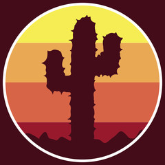 Logo cactus icon in the desert