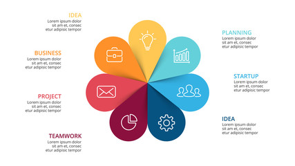 Vector circle arrows flower infographic, cycle diagram, graph, presentation chart. Business concept with 7 options, parts, steps, processes. Slide template.