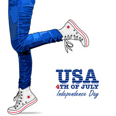 Photo realistic woman legs in jeans and shoes. Patriotic isolated clothes on white background. 4th Of July Vector illustration. USA style.
