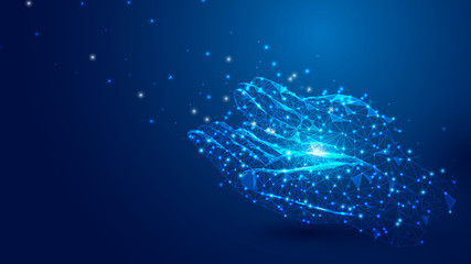 Wireframe Praying Hands Islamic mesh from a starry on blue background. Ramadan Kareem concept