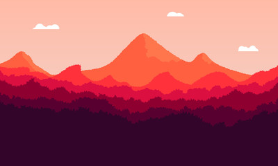 Landscape of mountains at sunset