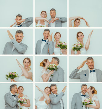 modern wedding couple in their engagement with photobooth