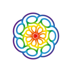 Rainbow Round Celtic pattern. Element of Scandinavian or Celtic ornament. Vector illustration EPS10