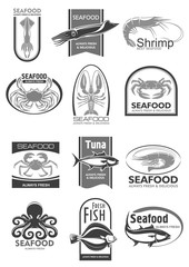 Vector icons for seafood market or fish restaurant