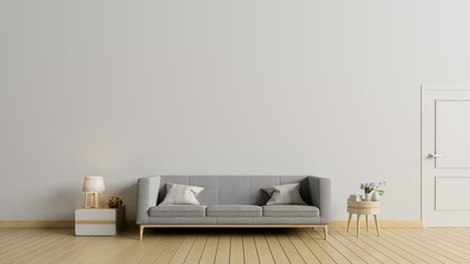 Empty living room with sofa,lamp have white wall ,3d rendering