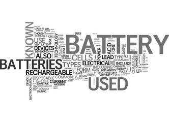 BATTERY SIZES AND TYPES TEXT WORD CLOUD CONCEPT