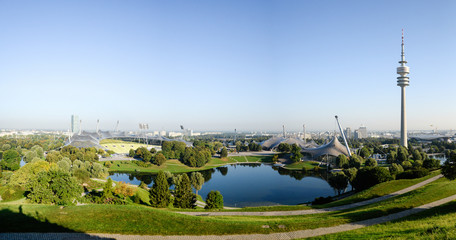 MUNICH, GERMANY - September 13, 2016: Panorama of Olympic park with TV-tower