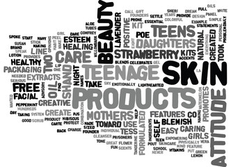 BEAUTY PRODUCTS WITH A POSITIVE ATTITUDE TEXT WORD CLOUD CONCEPT