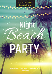 Summer Night Beach Party Poster. Tropical Natural Background  wi
