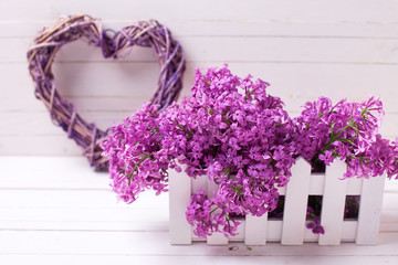 Spring lilac flowers in box  and heart on white wooden background.