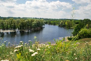 Summer sunny river landscape. Concept travel, travel.