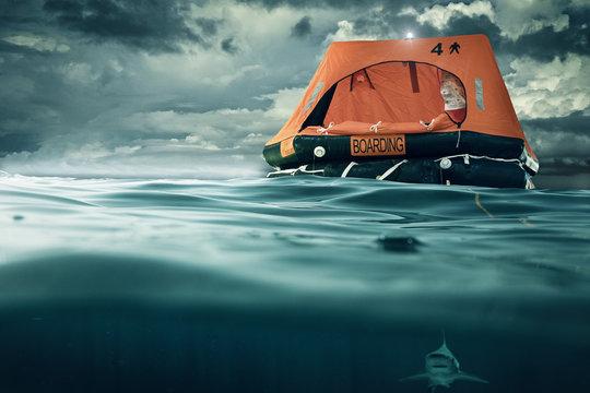 life raft floating on the sea