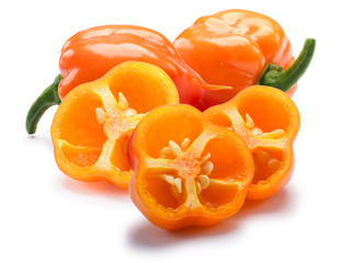 Canvas Prints Hot chili peppers Orange Habanero chiles, paths