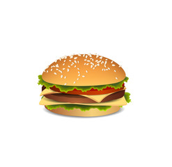 Big, delicious burger. Tasty food. Fast food. Hamburger icon. A sandwich with meat and cheese. Icon of food. Large delicious sandwich