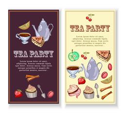 Tea party banners. Design for packaging, tea shop, drink menu, tea time elements