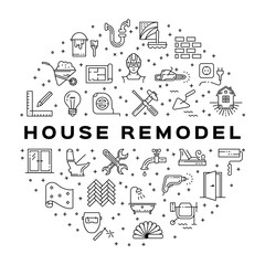 Home Repair circle infographics Сonstruction icon. House remodel thin line art icons. Symbols hammer and screwdriver, plumbing, hard hat, construction tools, wallpaper. Vector illustration