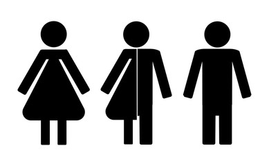 Set of restroom icons including gender neutral icon