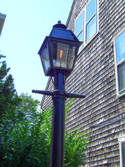 Gas lantern on a street in Nantucket Massachusetts