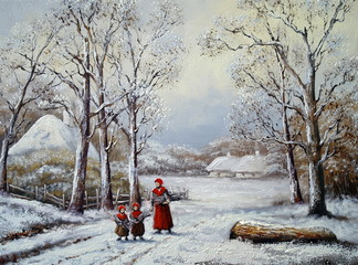Village, winter, oil paintings