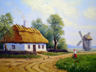 Village and windmill, oil paintings