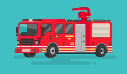 Fire truck on isolated background. Vector illustration in a flat style