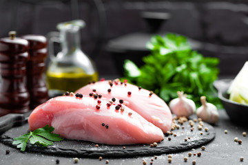 Raw chicken breasts, fillets
