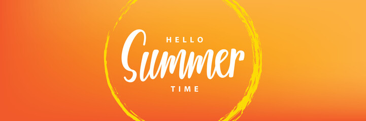 Hello summer time heading design for banner or poster. Summer event concept. Vector illustration. Wall mural