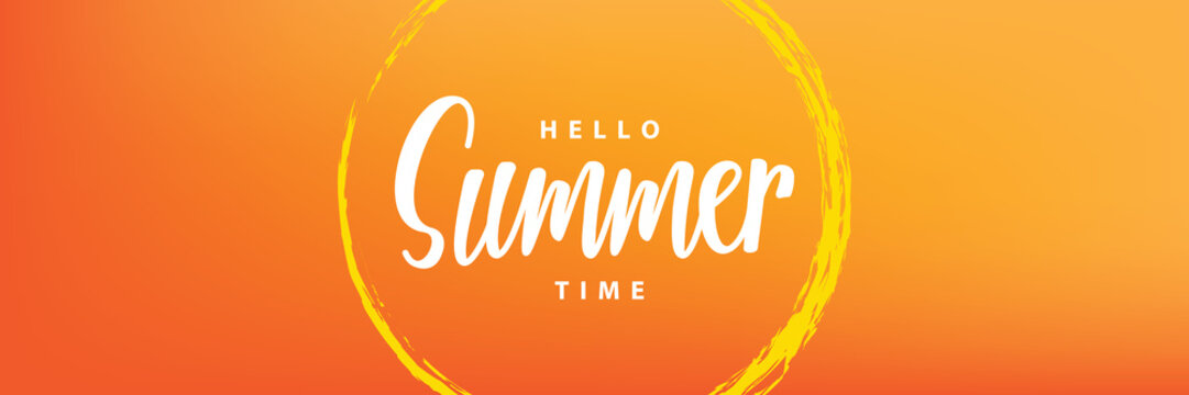 Hello summer time heading design for banner or poster. Summer event concept. Vector illustration.